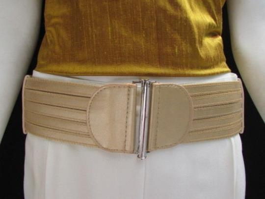 Other Women Waist Hip Gold Cut Out Stripes Wide Elastic Fashion Belt 28-34