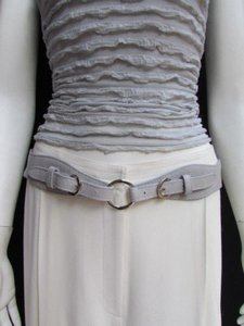 Alwaystyle4you Women High Waist Hip Gray Faux Leather Cut Out Belt Rings 32-36