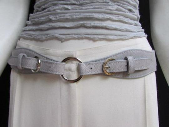 Alwaystyle4you Women High Waist Hip Gray Faux Leather Cut Out Belt Rings 32-36 Image 1