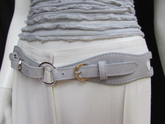 Alwaystyle4you Women High Waist Hip Gray Faux Leather Cut Out Belt Rings 32-36 Image 10