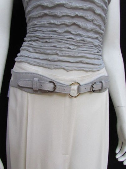 Alwaystyle4you Women High Waist Hip Gray Faux Leather Cut Out Belt Rings 32-36 Image 3