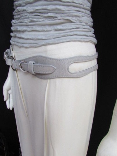 Other Women High Waist Hip Gray Faux Leather Cut Out Fashion Belt Rings 32-36