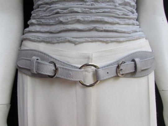 Alwaystyle4you Women High Waist Hip Gray Faux Leather Cut Out Belt Rings 32-36 Image 6