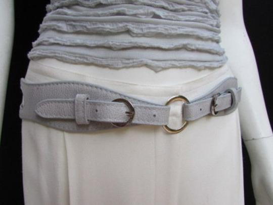 Alwaystyle4you Women High Waist Hip Gray Faux Leather Cut Out Belt Rings 32-36 Image 8