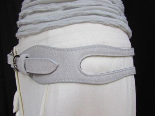 Alwaystyle4you Women High Waist Hip Gray Faux Leather Cut Out Belt Rings 32-36 Image 9