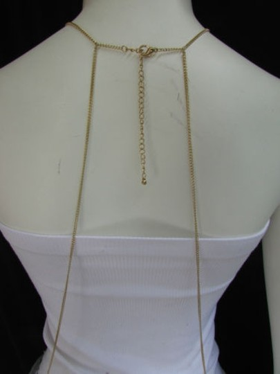 Other Women Gold Five Round Metal Circles Classic Body Chain Jewelry Long Necklace