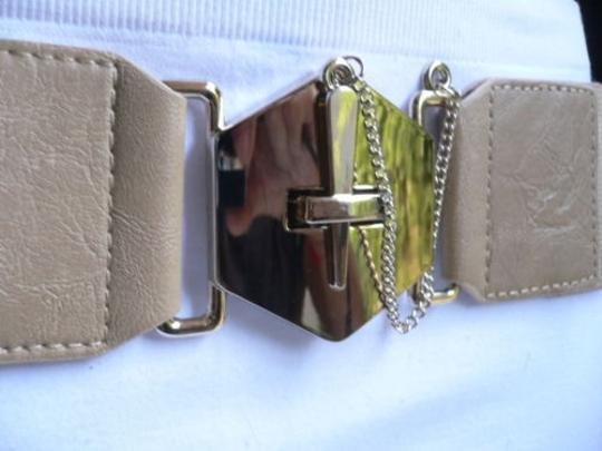 Other Women Elastic Beige Fashion Belt Gold Chains Big Cross Buckle 28-36 -