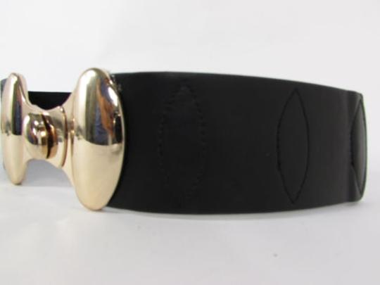 Other Women Waist Hip Black Wide Elastic Fashion Belt Gold Seatbelt Buckle 27-34