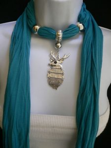 Women Blue Fashion Soft Scarf Necklace Silver Metal Christmas Deer Pendant