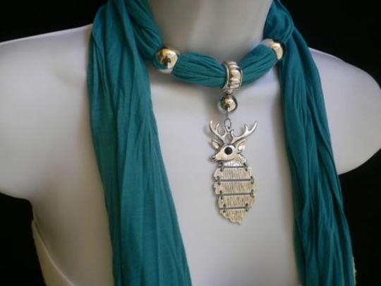 Other Women Blue Fashion Soft Scarf Necklace Silver Metal Christmas Deer Pendant
