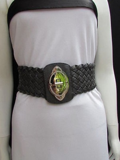 Other Women Gary Fashion Belt Braided Faux Leather Elastic Waistband Silver Buckle