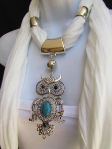 Women White Fashion Scarf Necklace Big Owl Pendant Elegant Rhinestones Beads
