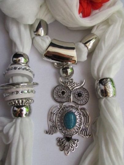 Alwaystyle4you Women White Scarf Necklace Big Owl Pendant Elegant Rhinestones Image 1