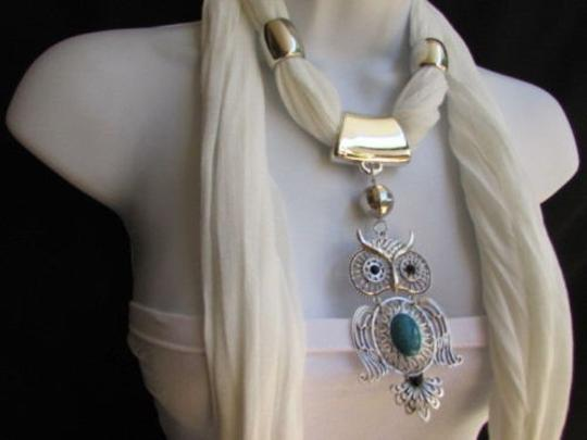 Alwaystyle4you Women White Scarf Necklace Big Owl Pendant Elegant Rhinestones Image 2