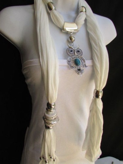 Alwaystyle4you Women White Scarf Necklace Big Owl Pendant Elegant Rhinestones Image 3