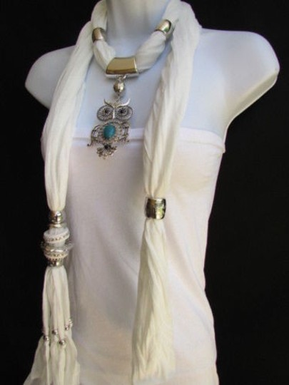 Alwaystyle4you Women White Scarf Necklace Big Owl Pendant Elegant Rhinestones Image 4