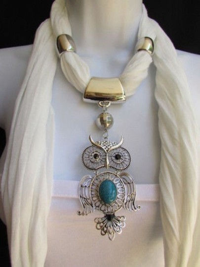Alwaystyle4you Women White Scarf Necklace Big Owl Pendant Elegant Rhinestones Image 5