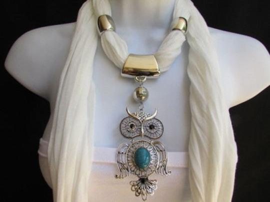 Alwaystyle4you Women White Scarf Necklace Big Owl Pendant Elegant Rhinestones Image 6