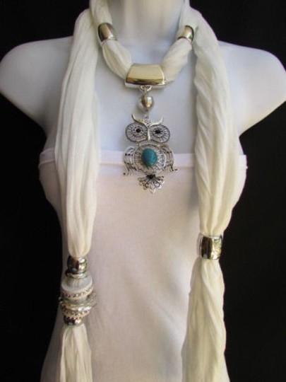 Alwaystyle4you Women White Scarf Necklace Big Owl Pendant Elegant Rhinestones Image 7