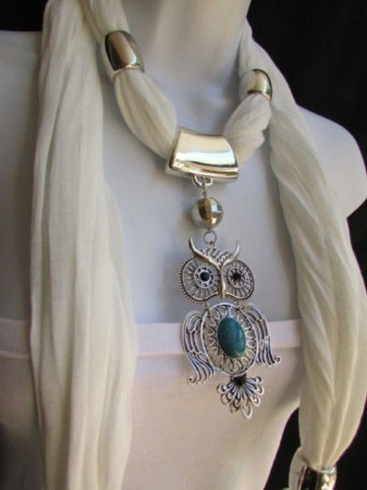 Alwaystyle4you Women White Scarf Necklace Big Owl Pendant Elegant Rhinestones Image 9