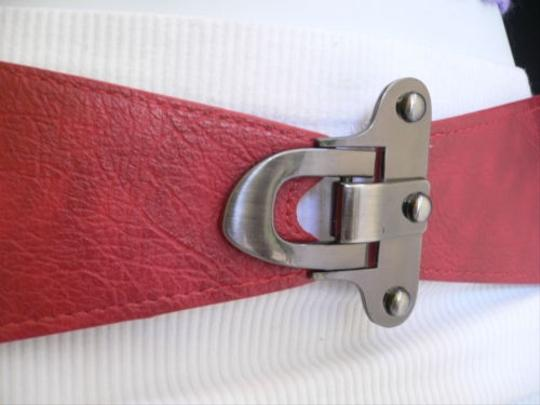 Other Women Waist Hip Elastic Bright Red Fashion Belt Metal Hook Buckle 29-36