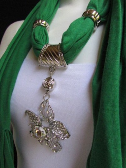 Other Women Green Fashion Fabric Scarf Long Necklace Big Beads Metal Flower Pendant