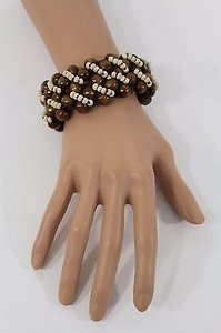 Other Women Brown Wide Wooden Bracelet Beige Beads Bohemian Fashion Elastic Bangle