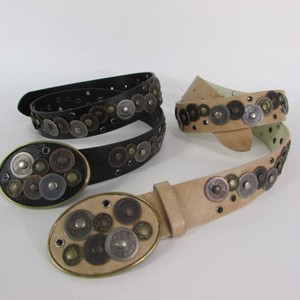 Women Black Beige Faux Leather Moroccan Fashion Belt Multi Coins Sm Ml
