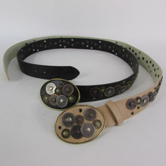 Other Women Black Beige Faux Leather Moroccan Fashion Belt Multi Coins Sm Ml