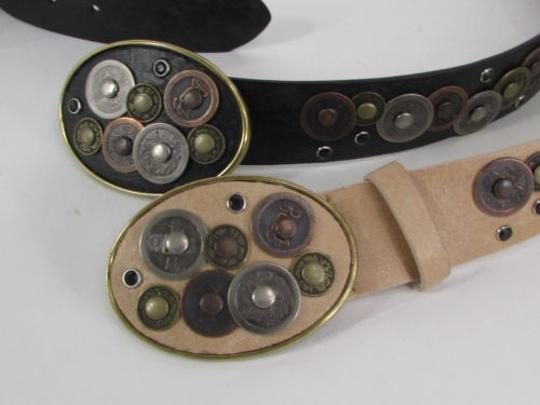 Alwaystyle4you Women Black Beige Faux Leather Moroccan Fashion Belt Multi Coins M-L Image 4