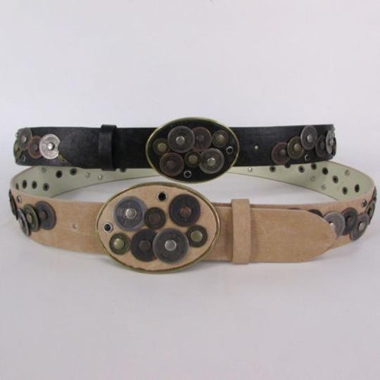 Alwaystyle4you Women Black Beige Faux Leather Moroccan Fashion Belt Multi Coins M-L Image 6