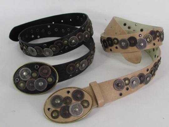Alwaystyle4you Women Black Beige Faux Leather Moroccan Fashion Belt Multi Coins M-L Image 7