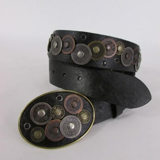 Alwaystyle4you Women Black Beige Faux Leather Moroccan Fashion Belt Multi Coins M-L Image 8