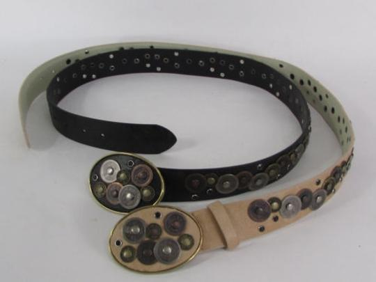 Alwaystyle4you Women Black Beige Faux Leather Moroccan Fashion Belt Multi Coins M-L Image 9