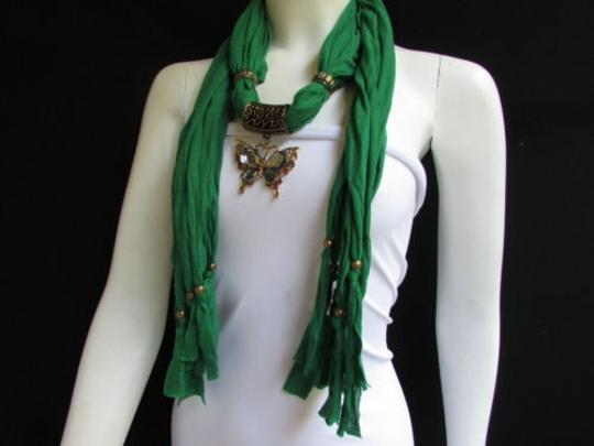 Preload https://item3.tradesy.com/images/women-green-fashion-soft-scarf-long-necklace-big-pewter-beads-butterfly-pendant-4290217-0-0.jpg?width=440&height=440