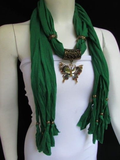 Other Women Green Fashion Soft Scarf Long Necklace Big Pewter Beads Butterfly Pendant