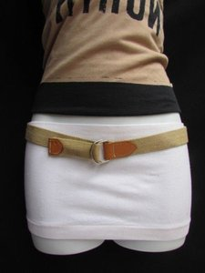 Alwaystyle4you Women Beige Fabric Fashion Belt Silver Metal Buckle Faux Leather