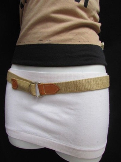 Other Women Beige Fabric Fashion Belt Silver Metal Buckle Faux Leather 25-28