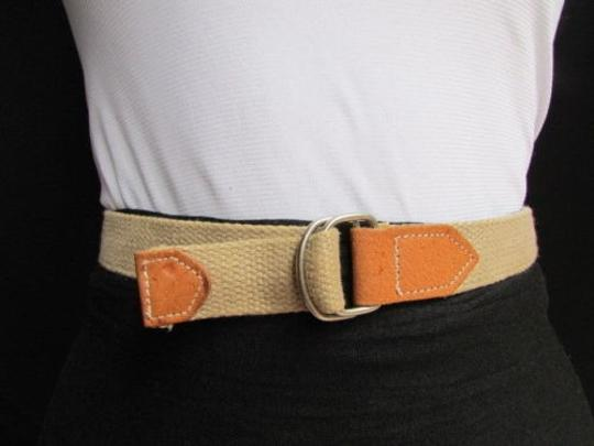 Alwaystyle4you Women Beige Fabric Fashion Belt Silver Metal Buckle Faux Leather Image 4