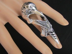 Other Women Rusty Antique Silver Metal Bird Head 2.5 Long Trendy Fashion Elastic Ring