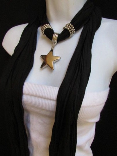 Other Women Black Fashion Soft Scarf Necklace Big Silver Christmas Star Pendant