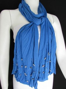 Women Soft Fabric Fashion Blue Scarf Long Necklace Silver Metal Stars Studs