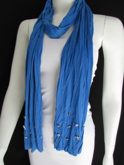 Alwaystyle4you Women Soft Fabric Blue Scarf Long Necklace Silver Metal Stars Studs Image 1