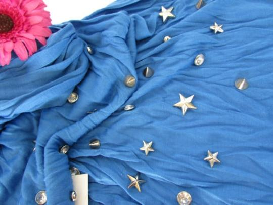 Alwaystyle4you Women Soft Fabric Blue Scarf Long Necklace Silver Metal Stars Studs Image 10