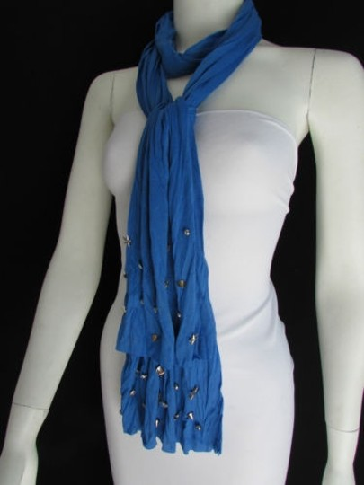 Alwaystyle4you Women Soft Fabric Blue Scarf Long Necklace Silver Metal Stars Studs Image 11