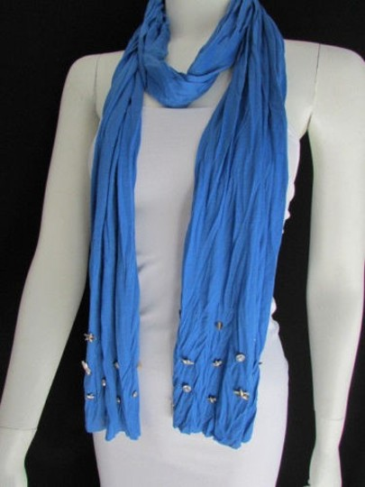Alwaystyle4you Women Soft Fabric Blue Scarf Long Necklace Silver Metal Stars Studs Image 2