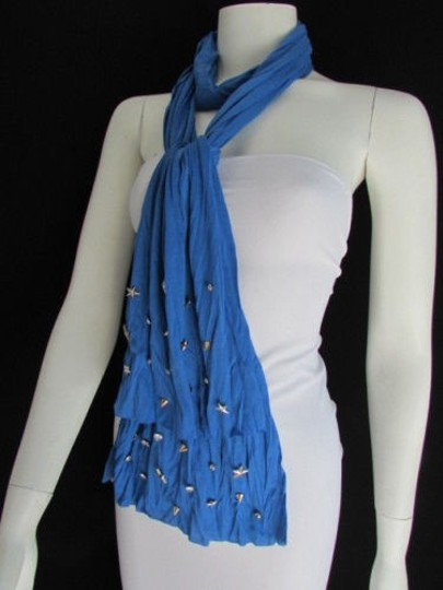 Alwaystyle4you Women Soft Fabric Blue Scarf Long Necklace Silver Metal Stars Studs Image 3