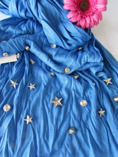 Alwaystyle4you Women Soft Fabric Blue Scarf Long Necklace Silver Metal Stars Studs Image 4