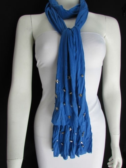Alwaystyle4you Women Soft Fabric Blue Scarf Long Necklace Silver Metal Stars Studs Image 6