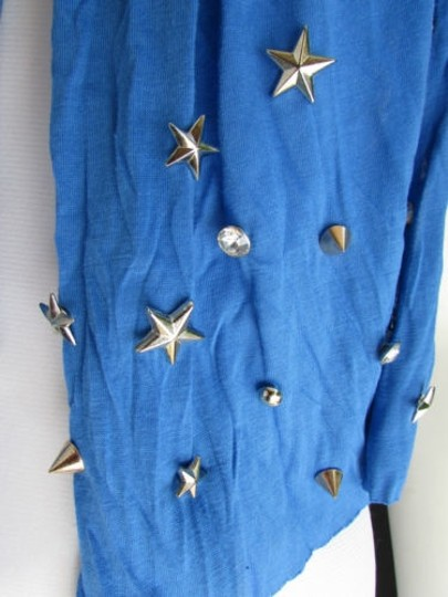 Alwaystyle4you Women Soft Fabric Blue Scarf Long Necklace Silver Metal Stars Studs Image 7